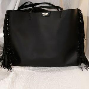 Victoria's Secret black fringed tote large